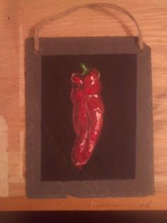 Red Chili Pepper on Slate